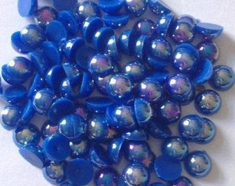 100 x 6mm Flat Back Half Round Minion Blue AB Resin Pearls Crafts scrap booking crafts cards