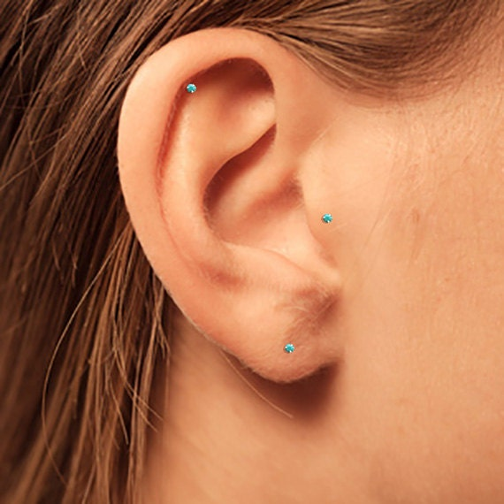 Silver Turquoise Stud Silver Helix Stud Silver Tragus Stud