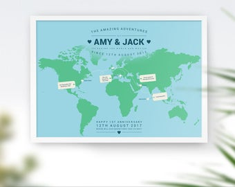 Personalised World Map, Custom Travel Map Print, Places I've Been, Places We've Been, Where We Have Been, Where We Met, Our Life Journey