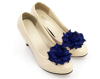 Genuine LEATHER SHOE CLIPS flowers, dark blue floral shoe decoration, wedding bridal shoe jewelry | Handmade shoe jewellery, Ukranie