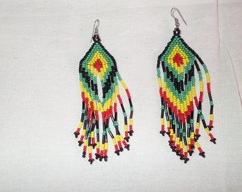Rasta beaded dangling earrings