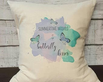 Summertime Wishes & Butterfly Kisses Pillow Cover