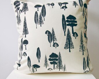 Modern home decor, Monochrome pillow case, Tree print throw cushion, Organic cotton product