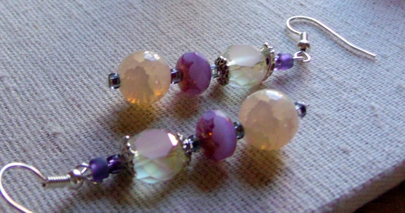 Lilac etched glass earrings - spring colors - easter earrings - Agate beads - warm yellow earrings  - Lizporiginals
