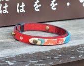 Genuine italian leather and kimono fabric bracelet. Men's. Unisex. Wristband. Bangle. Red. Gift for him. Japanese Jewelry. Made in Japan.