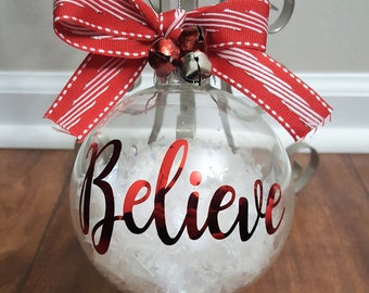 Believe Ornament, Believe Christmas Ornament, Christmas Ornament, Holiday Ornament