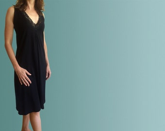 Hayman Organic Black Cotton Nightgown with Lace