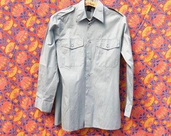 1980's shirt Vintage military Swiss Army shirt grey long sleeve military shirt medium /tag 3/