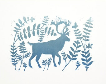 Deer. Original prints. Linocut / hand printed
