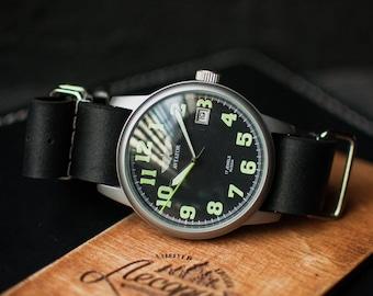 Mens watch, Watch Poljot, Black watch, Vintage watch, Mechanical watch, Soviet watch, Mens vintage watch, Leather NATO strap