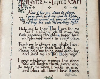 Vintage Framed Prayer for a Little Girl by F.W. Funnell