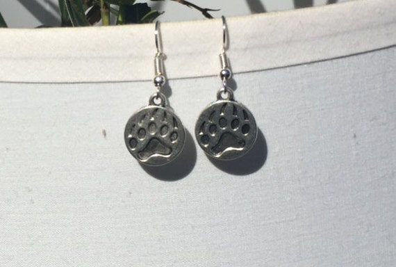 Clemson Tigers Paw Print Charm Antique Silver Earrings