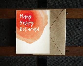 Many Happy Returns! Printable Card, DIY, Birthday Card, 4.25x5.5, Blank Inside, PDF