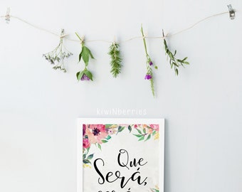 Que sera sera print - Spanish sign - Floral watercolor art - Pink magenta print - Typography wall art - Spanish quote print - Art prints