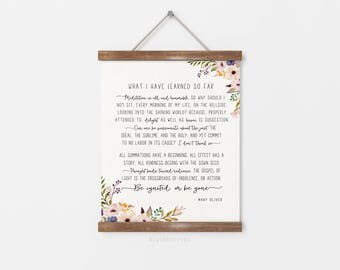 What I have learned so far print - Mary Oliver poem - Mary Oliver quote poster - Literature printable - Literature Print - printable gift