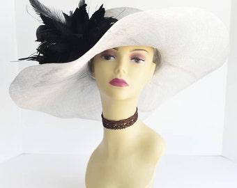 508 (Silver/Black)High Quality Kentucky Derby Church Wedding Tea Party Sinamay Feather Flower Wide Brim Dress Hat