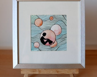 Paintings watercolor and ink - water series - framed original Illustration
