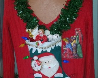 Ugly Christmas Sweater, Womans XL ,Lighted, Christmas Sweater, Sweater, Ugly, Tacky, Ugly Sweater, Custom Made, Santa,Unique, Handmade, Xmas