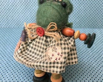 Little Girl Froggie Magnet Made with Buttons, Beads and Wooden Sewing Spools