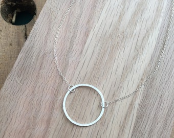 Open Circle Necklace; Choker - Sterling Silver