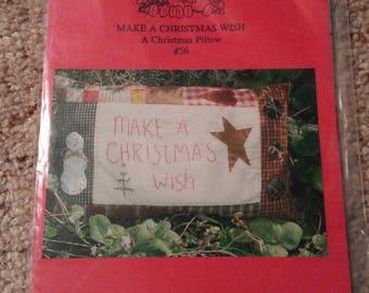 Make a Christmas Wish #56 by Patrice and Company - Christmas Homespun Muslin Stitchery Pillow - Uncut Craft Pattern