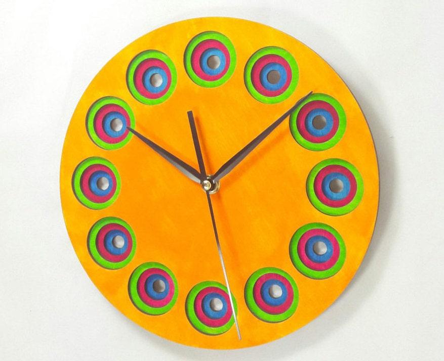 Layered wood wall clock - Wall Art - Home decor - Unique - Circles ...