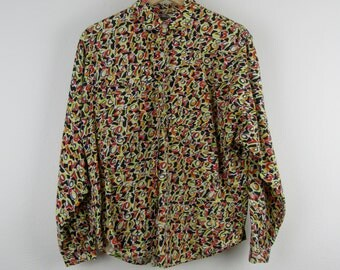 Vintage Unionbay Shirt / 90s Numbers Button Down Top Neon Print Blouse / Medium M Large L