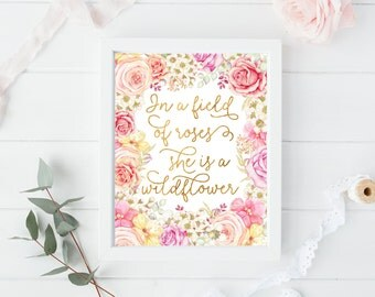 Baby Girls Bedroom Ideas. Baby Girl Wildflower Print  She Is A Gold And Pink Nursery Decor girl decor Etsy