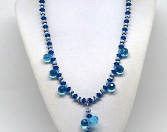 Delightful Ocean Blue Glass Cats Eye Beaded Estate Necklace