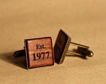 Custom Engraved Monogram Cufflinks, Natural, Vintage, Wooden, Square, Native Australian Jarrah, Handmade, Groomsman, Wedding, Personalized