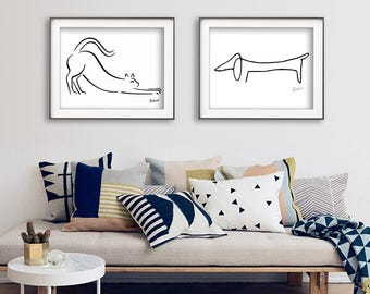 Picasso Print Set, The Dog Picasso, Picasso Dachshund, Picasso Cat Print, Instant Download Print, Picasso Line Drawing, Minimalist Print,