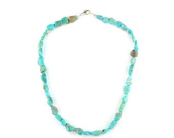 Turquoise nuggets necklace with sterling silver clasp.