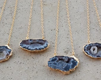 Sliced agate drusy gold necklace