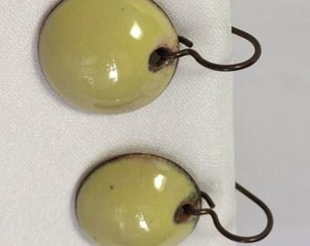 Enameled Penny Earrings