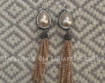 SALE | Champagne Pearl Beaded Tassel Earrings | statement earrings, party jewelry, pavé, dressy, wedding jewelry, bridal