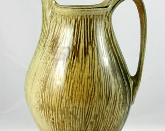Handmade Stoneware Pitcher, Wheel Thrown and Altered, Gold and Green
