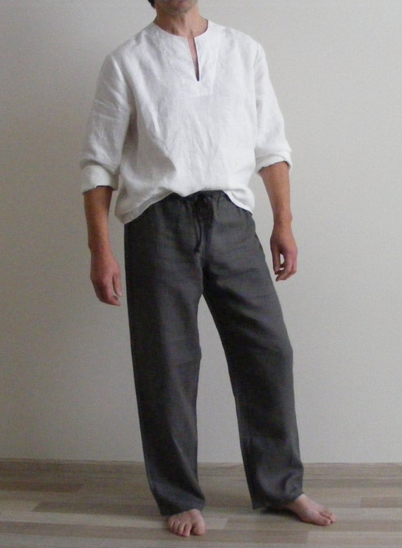 Mens Linen Lounge Pants / Pajamas pants / Yoga pants / by LinenFog