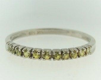 Modified Yellow Diamond Eternity Ring-14k White Gold