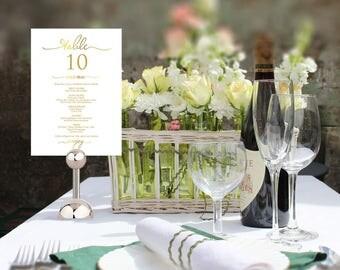 Gold Wedding Menu Template, Wedding Table Number, Wedding Menu Printable, Printable Table Number, Wedding Menu Cards, Numbers & Menu Card