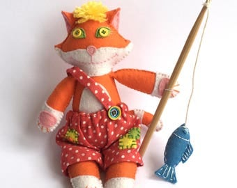Handmade Felt Toy Red Cat, Fabric Cloth Toy, Animal Toy, Handmade Gifts, Handmade Toy, Stuffed Toy, Gift For Baby, Gift For Children