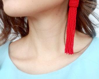 Red tassel earrings boho earrings fringe earrings bridesmaid earrings bead tassel earrings bohemian earrings red statement earrings