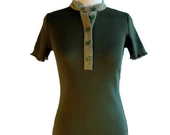 T-shirt vintage khaki green, T-shirt from the 70s