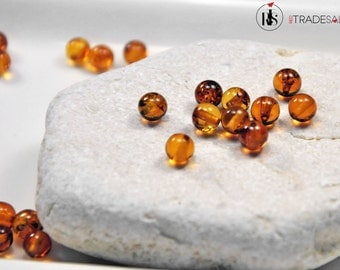 1 Natural Baltic Amber round beads 6mm - ARR6