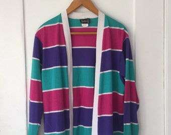 SALE Women's Small - Vintage 80s Striped Cardigan Sweater - BonWorth