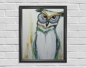 Owl Painting, Owl Nursery Art, Owl Decor, Nursery Wall Decor, Original Artwork, Animal Nursery, Unique Painting, Woodland Animal, Animal Art