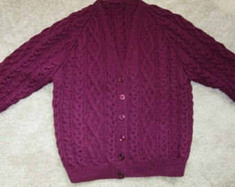 Unique hand knitted maroon aran cardigan / jacket