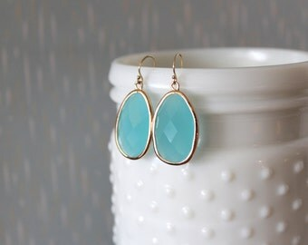 TAYLOR - Turquoise Teal Blue Crystal Faceted Framed Glass, Gold Filled Dangle Earrings