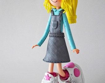 Gwladys de espuma, 30 cm, muñeca Blondie Fofucha, muñeca de papel, decoración de la muñeca, pieza única, colección de Fofucha