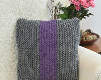 Hand-knitted Cushion Cover with an Insert, Decorative Pillow