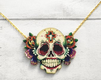 Sugar skull necklace, skull necklace, Skull, Sugar Skull, Day of the Dead Necklace, Laser cut Wood, Smile